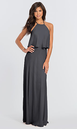 #LEVKOFF Halter Long Bridesmaid Dress with Popover
