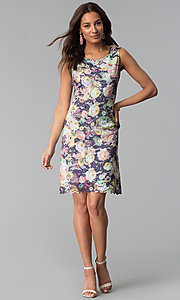 Image of floral-print sleeveless short lace party dress. Style: JU-TI-T0821 Detail Image 3