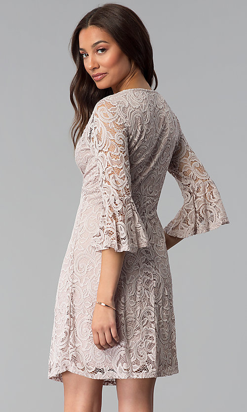 Image of empire-waist mauve lace wedding-guest party dress. Style: JU-TI-T1026 Back Image
