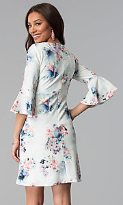 Image of floral-print short empire-waist casual party dress. Style: JU-TI-T1034 Back Image