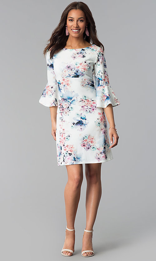 Image of floral-print short empire-waist casual party dress. Style: JU-TI-T1034 Detail Image 3
