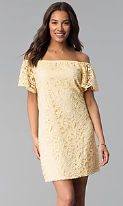 Image of yellow off-shoulder short lace casual party dress. Style: JU-TI-T1056 Front Image