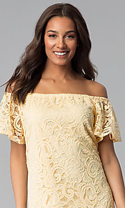 Image of yellow off-shoulder short lace casual party dress. Style: JU-TI-T1056 Detail Image 1