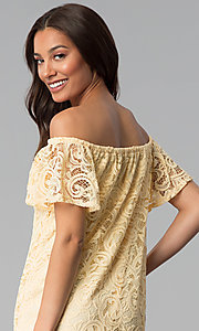 Image of yellow off-shoulder short lace casual party dress. Style: JU-TI-T1056 Detail Image 2