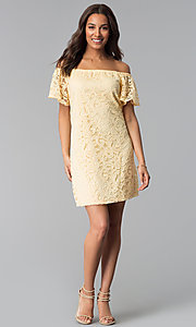 Image of yellow off-shoulder short lace casual party dress. Style: JU-TI-T1056 Detail Image 3