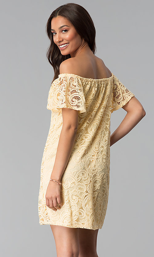 Image of yellow off-shoulder short lace casual party dress. Style: JU-TI-T1056 Back Image