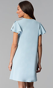 Image of short blue cotton shift party dress with sleeves. Style: JU-TI-T1172 Back Image