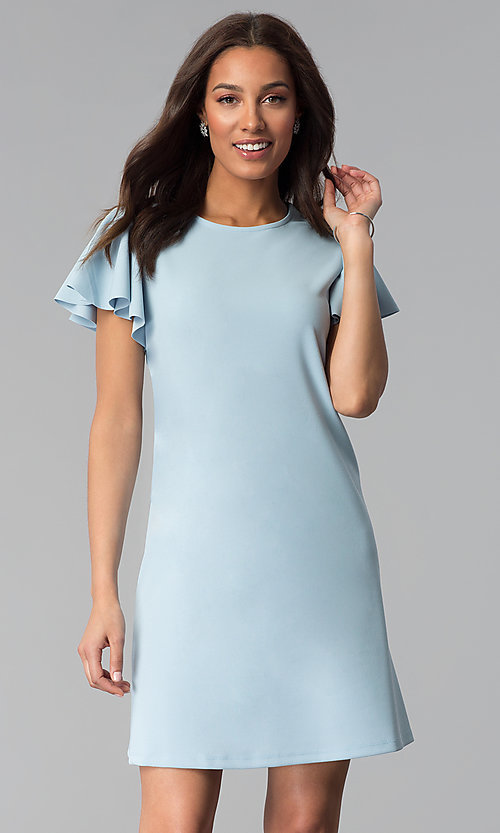 Image of short blue cotton shift party dress with sleeves. Style: JU-TI-T1172 Front Image