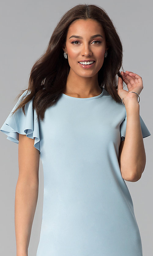 Image of short blue cotton shift party dress with sleeves. Style: JU-TI-T1172 Detail Image 1