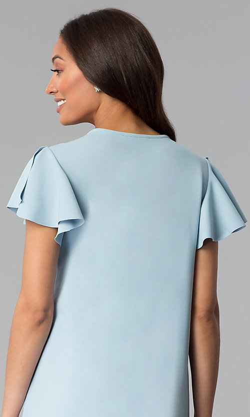 Image of short blue cotton shift party dress with sleeves. Style: JU-TI-T1172 Detail Image 2