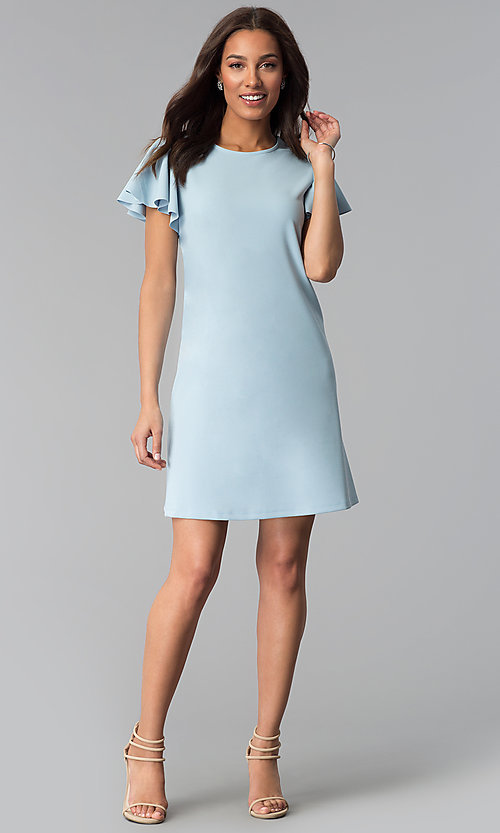 Image of short blue cotton shift party dress with sleeves. Style: JU-TI-T1172 Detail Image 3