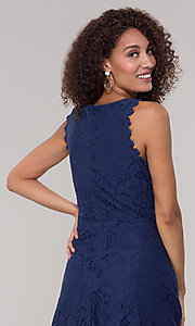 Image of short sleeveless floral-lace grad party dress. Style: JU-TI-T1451 Detail Image 7