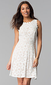 Image of short sleeveless floral-lace grad party dress. Style: JU-TI-T1451 Detail Image 3