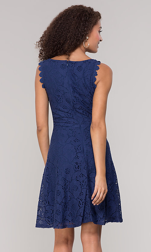 Image of short sleeveless floral-lace grad party dress. Style: JU-TI-T1451 Detail Image 4