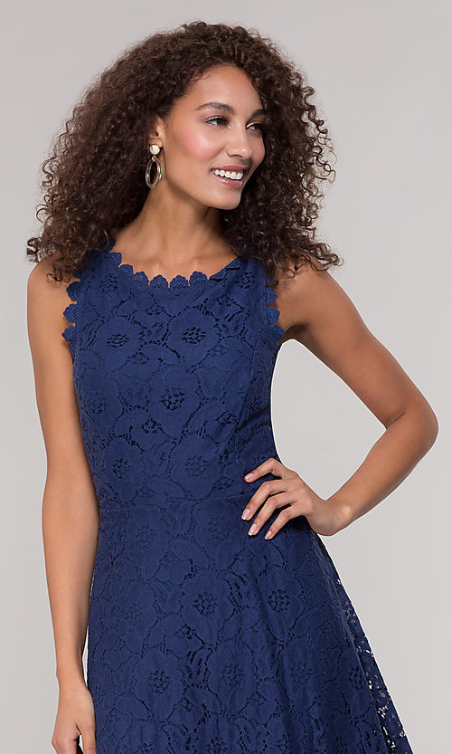 Image of short sleeveless floral-lace grad party dress. Style: JU-TI-T1451 Detail Image 5