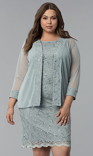 Sequin-Lace Plus-Size Party Dress with Jacket