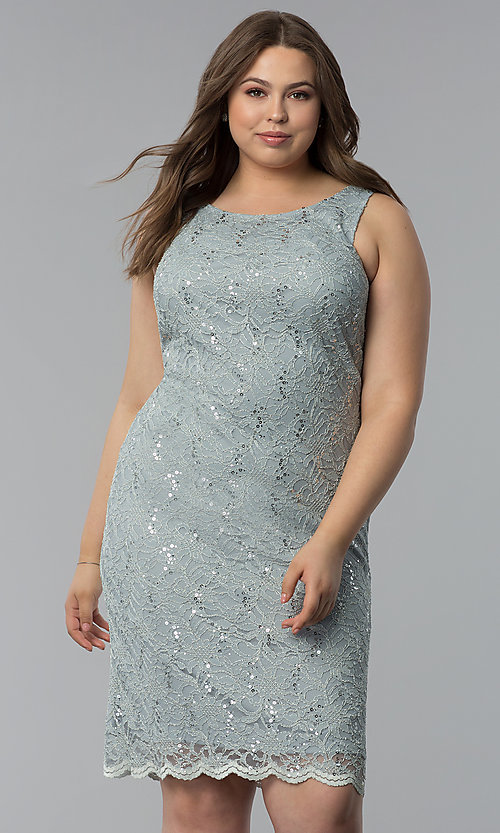Image of sequin-lace plus-size party dress with jacket. Style: JU-TI-T91426 Detail Image 2