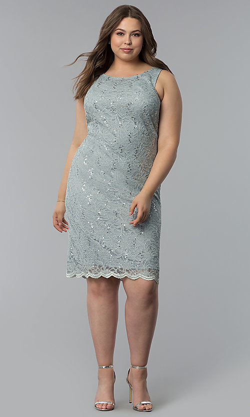 Image of sequin-lace plus-size party dress with jacket. Style: JU-TI-T91426 Detail Image 3