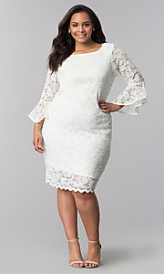 Image of knee-length white plus-size lace party dress. Style: JU-TI-T90991 Detail Image 2