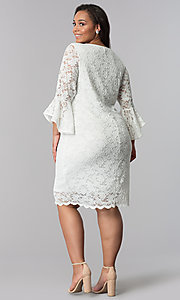 Image of knee-length white plus-size lace party dress. Style: JU-TI-T90991 Detail Image 3