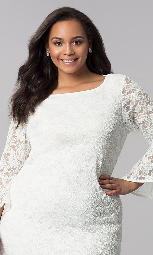 Image of knee-length white plus-size lace party dress. Style: JU-TI-T90991 Detail Image 1