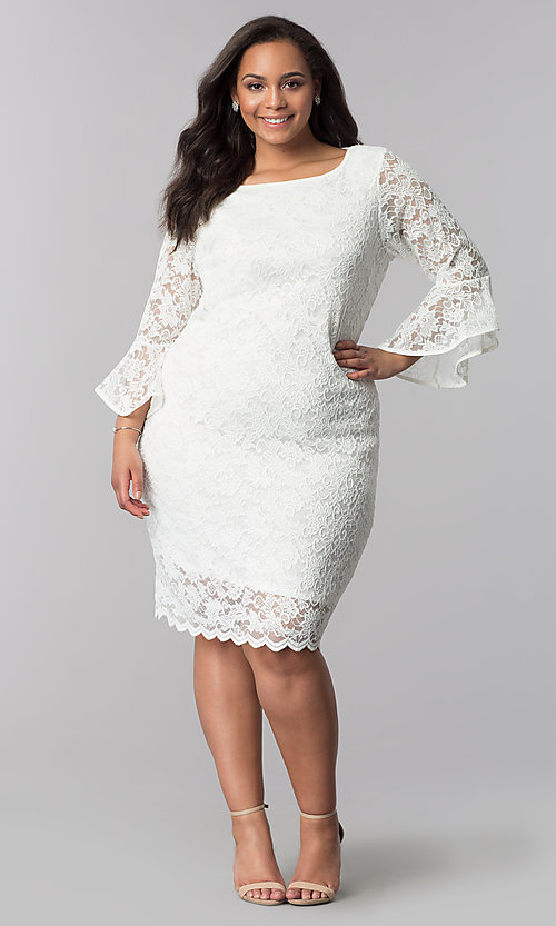 White Knee Length Plus Size Lace Party Dress Promgirl