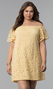 Image of shift off-shoulder plus-size short lace party dress. Style: JU-TI-T91056 Front Image