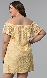 Image of shift off-shoulder plus-size short lace party dress. Style: JU-TI-T91056 Back Image