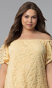 Image of shift off-shoulder plus-size short lace party dress. Style: JU-TI-T91056 Detail Image 1
