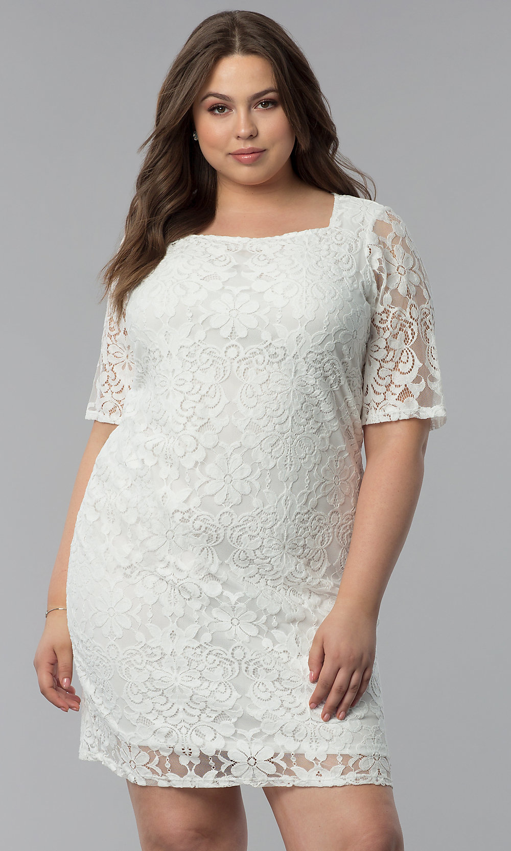 Plus-Size Lace Sheath Graduation Party Dress -PromGirl