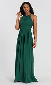 Image of long Dessy Collection high-neck bridesmaid dress. Style: DG-D-2918 Detail Image 4