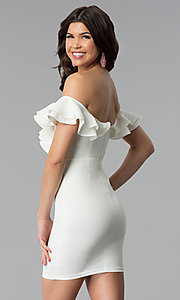 Image of ruffled off-the-shoulder white graduation dress. Style: BLU-IBD8692 Back Image