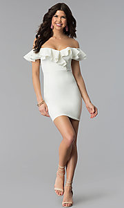 Image of ruffled off-the-shoulder white graduation dress. Style: BLU-IBD8692 Detail Image 2