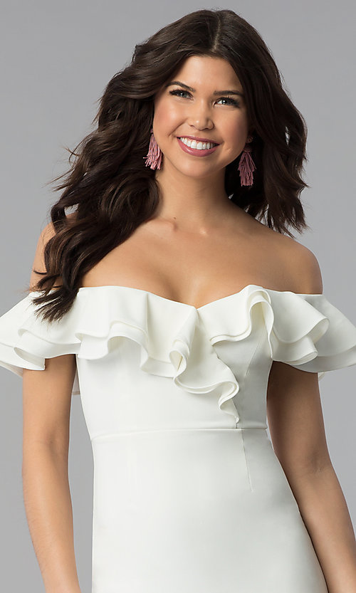 Image of ruffled off-the-shoulder white graduation dress. Style: BLU-IBD8692 Detail Image 1