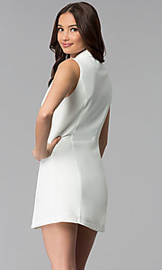 Image of short double-breasted white casual coat dress. Style: BLU-IBD8849 Back Image