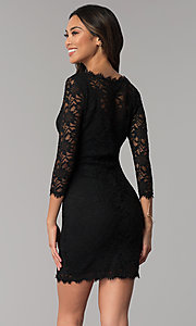 Image of lace black wedding-guest dress with sleeves. Style: JU-10571 Back Image