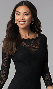 Image of lace black wedding-guest dress with sleeves. Style: JU-10571 Detail Image 1