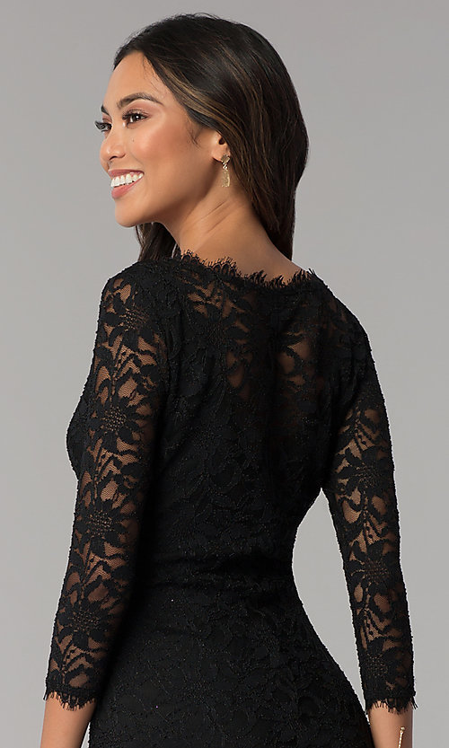 Image of lace black wedding-guest dress with sleeves. Style: JU-10571 Detail Image 2