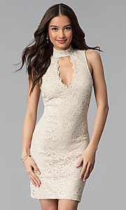 Image of short sheath ivory and gold lace graduation dresses. Style: JU-10409 Front Image