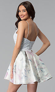 Image of lace popover short print graduation party dress. Style: JU-10620 Back Image