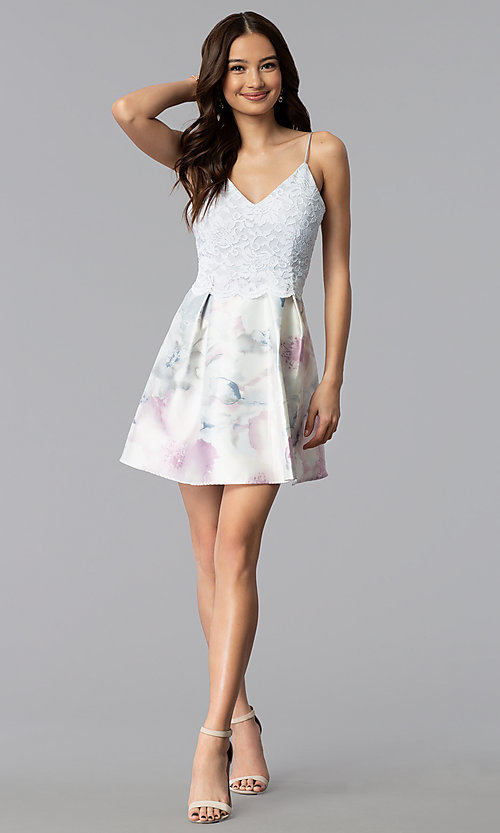 Image of lace popover short print graduation party dress. Style: JU-10620 Detail Image 3