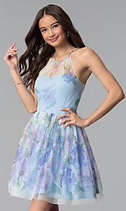 Image of short blue graduation party dress in watercolor print. Style: JU-10694 Front Image