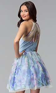 Image of short blue graduation party dress in watercolor print. Style: JU-10694 Back Image