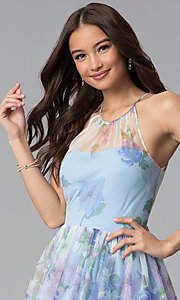 Image of short blue graduation party dress in watercolor print. Style: JU-10694 Detail Image 1