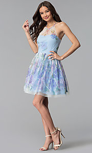 Image of short blue graduation party dress in watercolor print. Style: JU-10694 Detail Image 3