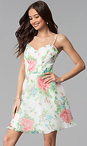 Image of floral-print short a-line graduation party dress. Style: JU-10710 Front Image