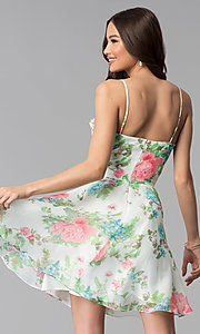 Image of floral-print short a-line graduation party dress. Style: JU-10710 Back Image