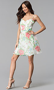 Image of floral-print short a-line graduation party dress. Style: JU-10710 Detail Image 2