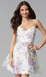 Image of floral-print short a-line graduation party dress. Style: JU-10710 Detail Image 3