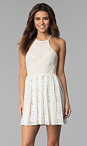 Short Ivory White Lace Graduation Party Dress